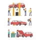 Car Repair Auto Service with Mechanic Characters