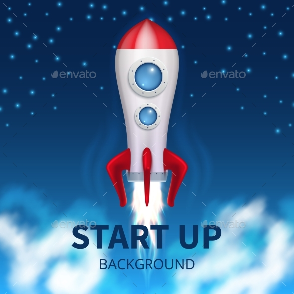 GraphicRiver Fired Up Space Rocket 20548337