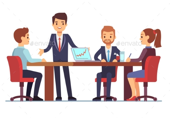 Business Meeting in Office at Conference Table - People Characters
