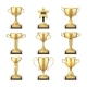 Winning Golden Trophy Cups and Sports Awards