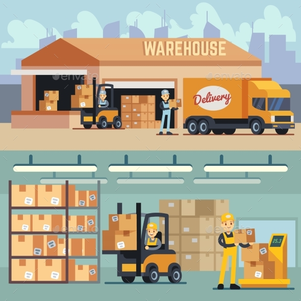 GraphicRiver Warehouse Storage and Shipping Logistics Vector 20548488