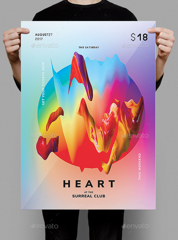 Heart Flyer / Poster Template - Clubs & Parties Events