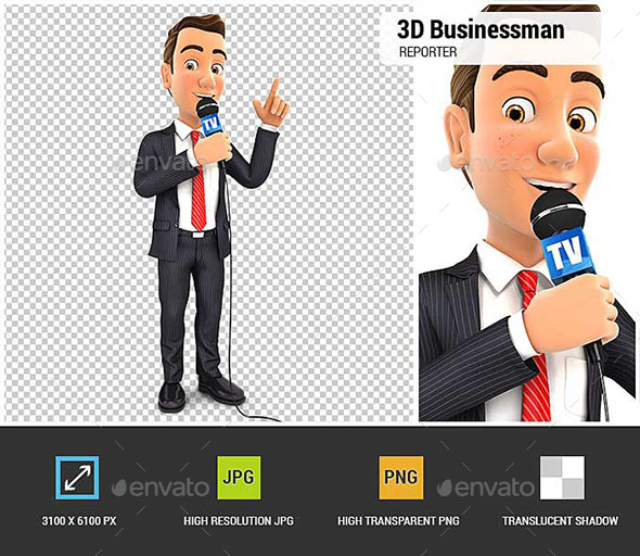 3D Businessman Reporter with Microphone - Characters 3D Renders