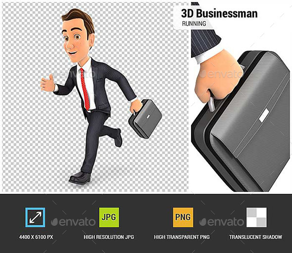 3D Businessman Running - Characters 3D Renders