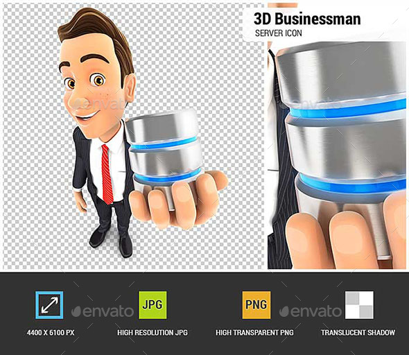 GraphicRiver 3D Businessman Server Icon 20548731