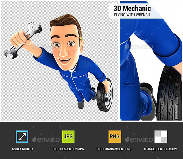 3D Mechanic Flying with Wrench and Wheel - Characters 3D Renders
