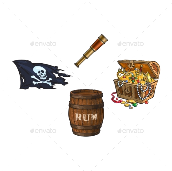Vector Cartoon Pirates Symbols Set Isolated - Man-made Objects Objects