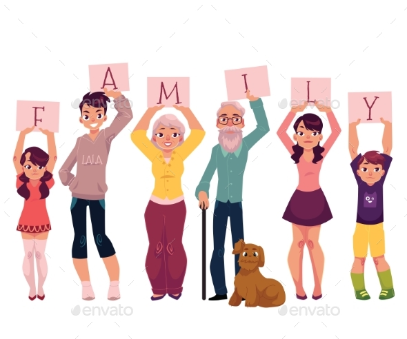 Grandparents and Grandchildren Holding Word Family - People Characters