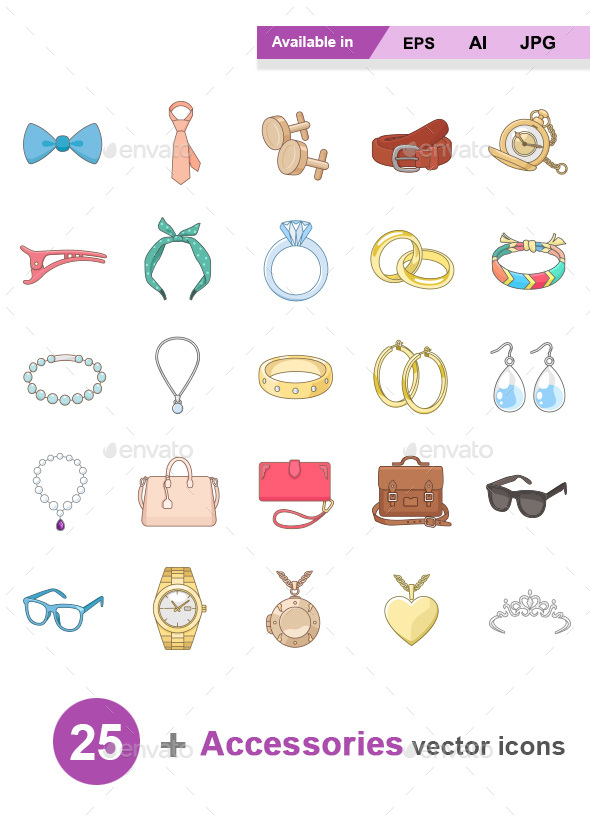 GraphicRiver Accessories Color vector icons 20548867