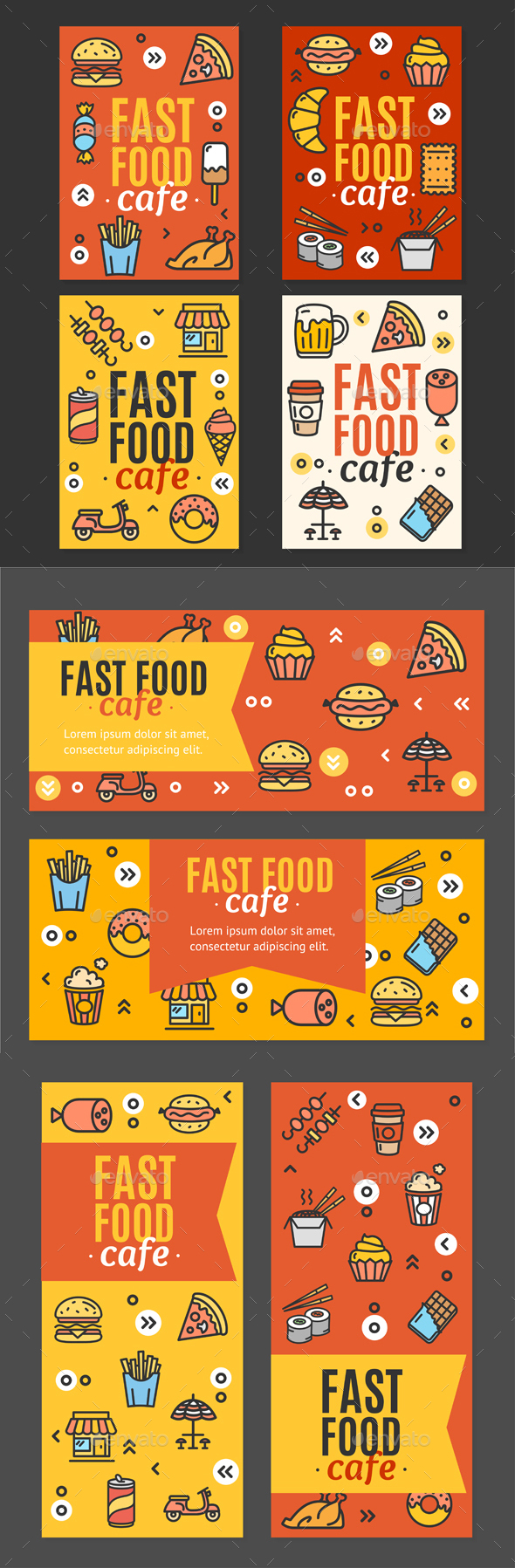 Fastfood and Street Food Flyer Banner Posters Card Set. Vector - Food Objects