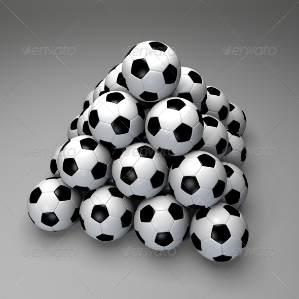 Pyramid of Soccer Balls - 3D Backgrounds