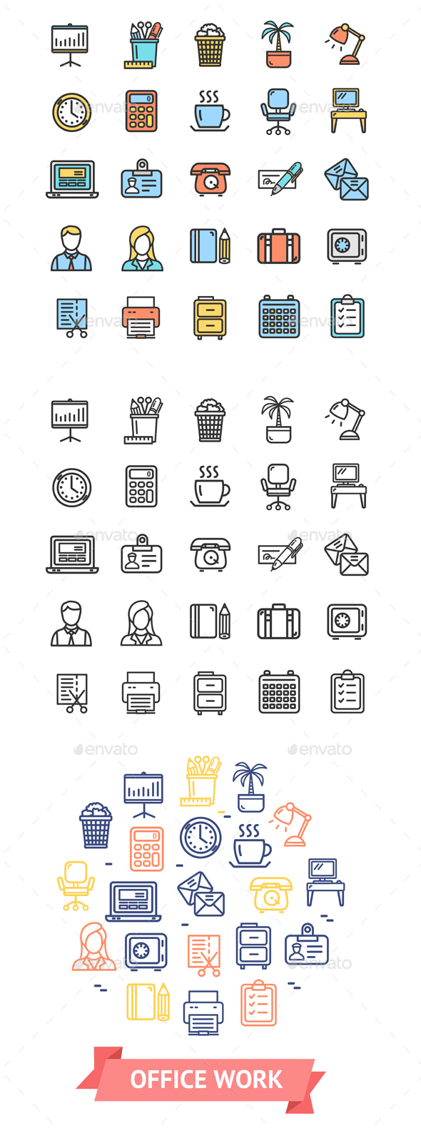 Symbol Office Work Color Thin Line Icon Set. Vector - Business Conceptual