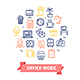 Symbol Office Work Color Thin Line Icon Set. Vector