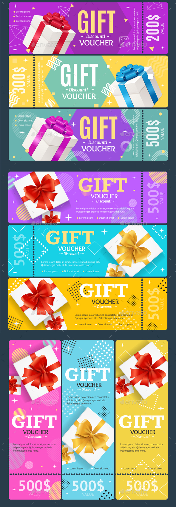 Gift Voucher Card Set Template Monetary Value Coupon. Vector - Conceptual Vectors