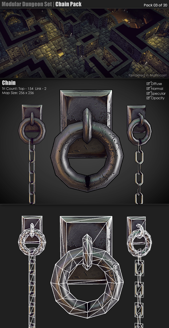 Modular Dungeon Set | Chain Pack (03 of 20) - 3DOcean Item for Sale