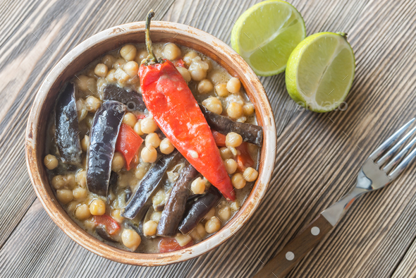 Eggplant and chickpea curry - Stock Photo - Images