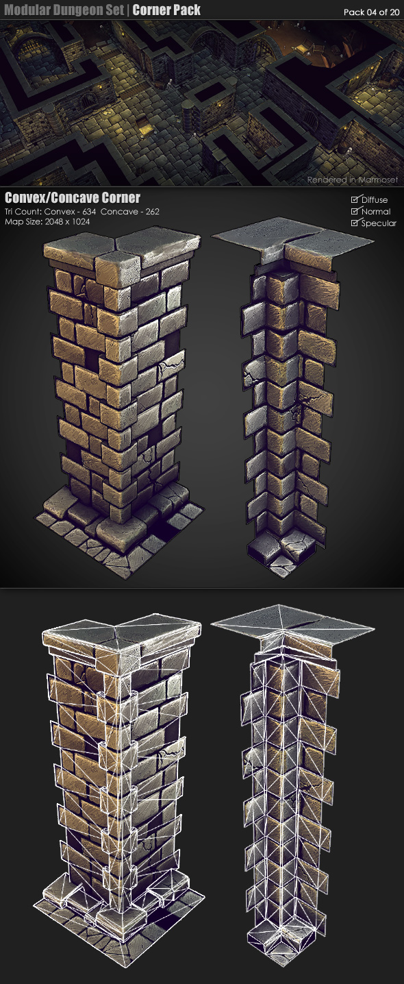 Modular Dungeon Set | Corner Pack (04 of 20) - 3DOcean Item for Sale
