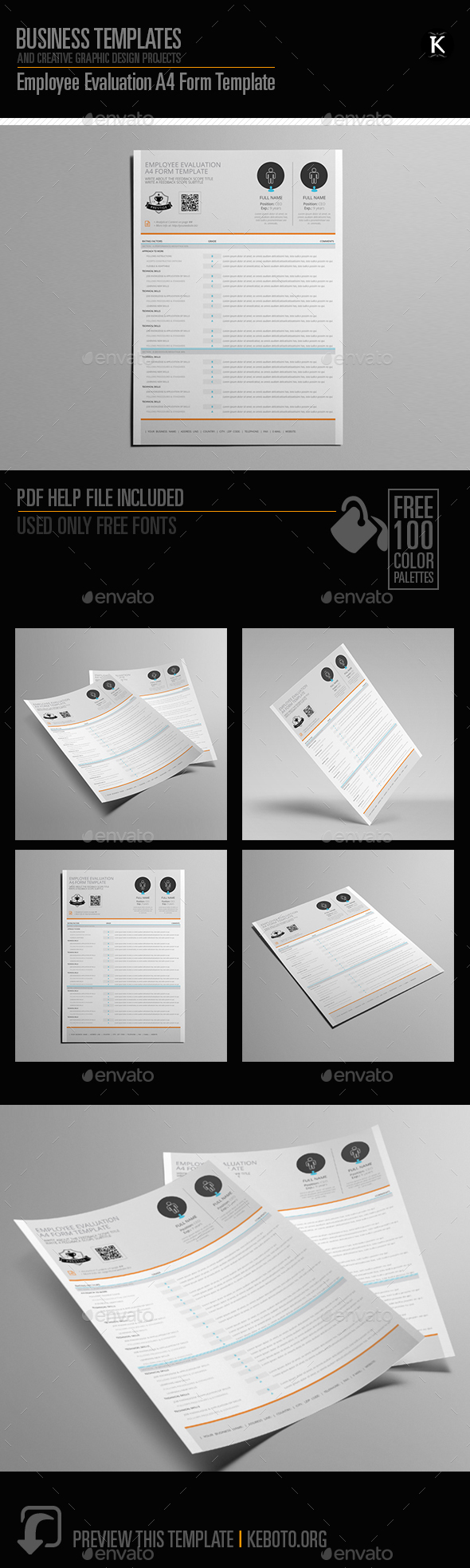 Employee Evaluation A4 Form Template by Keboto | GraphicRiver