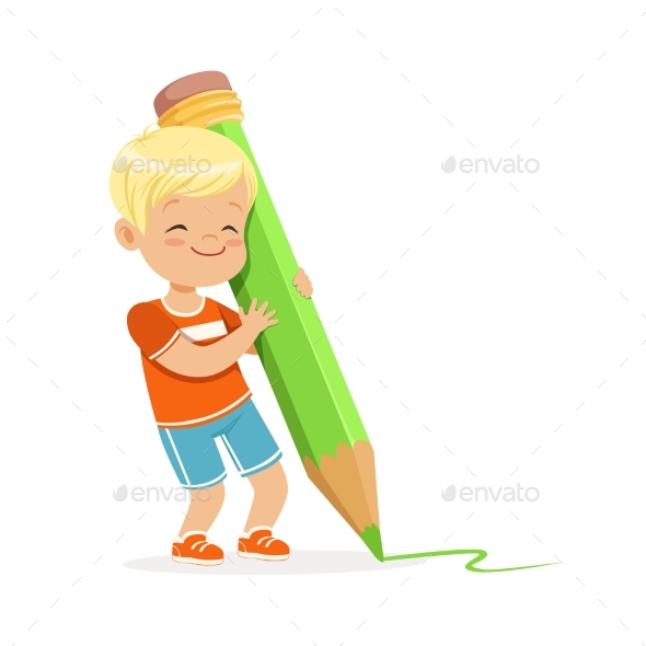 Boy Writing with a Giant Green Pencil - People Characters