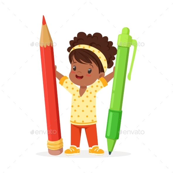 Girl Holding Giant Red Pencil - People Characters