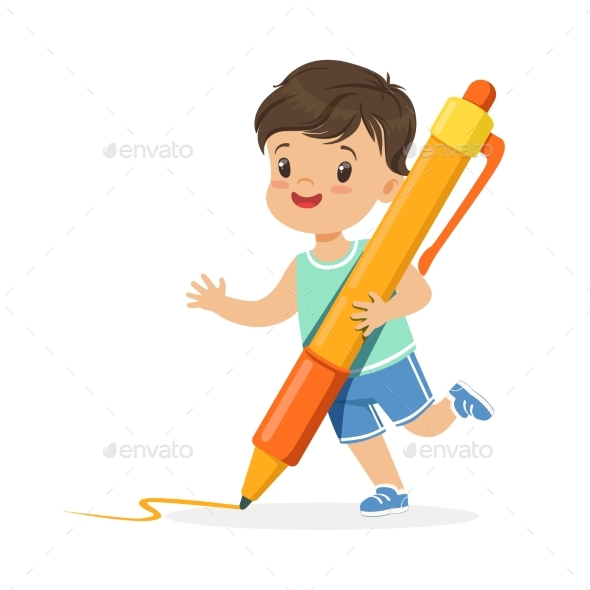 Boy Holding Giant Orange Pen Cartoon - People Characters