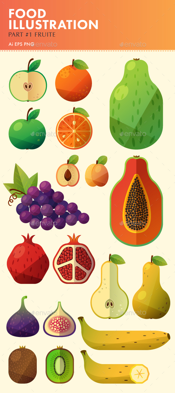 Food Illustration. Part #1. Fruit.
