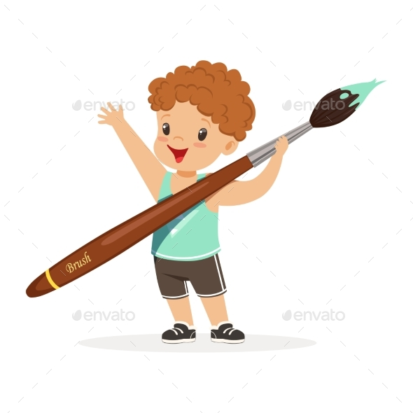 Boy Holding Giant Paintbrush - People Characters
