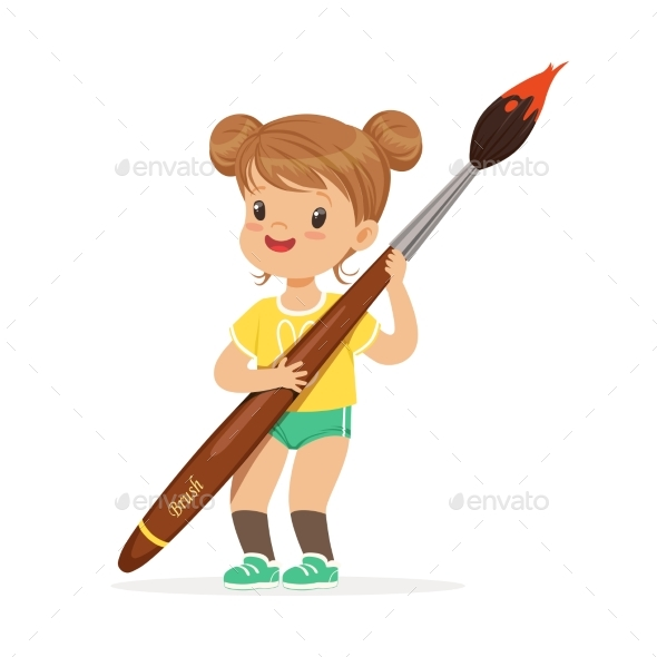 Girl Holding Giant Paintbrush - People Characters