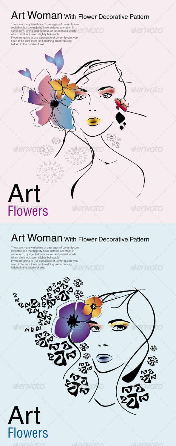 Art Woman With Flower Decorative Pattern - Decorative Vectors