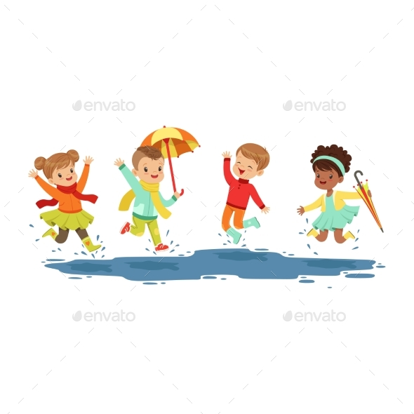 Kids Jumping and Splashing - Landscapes Nature