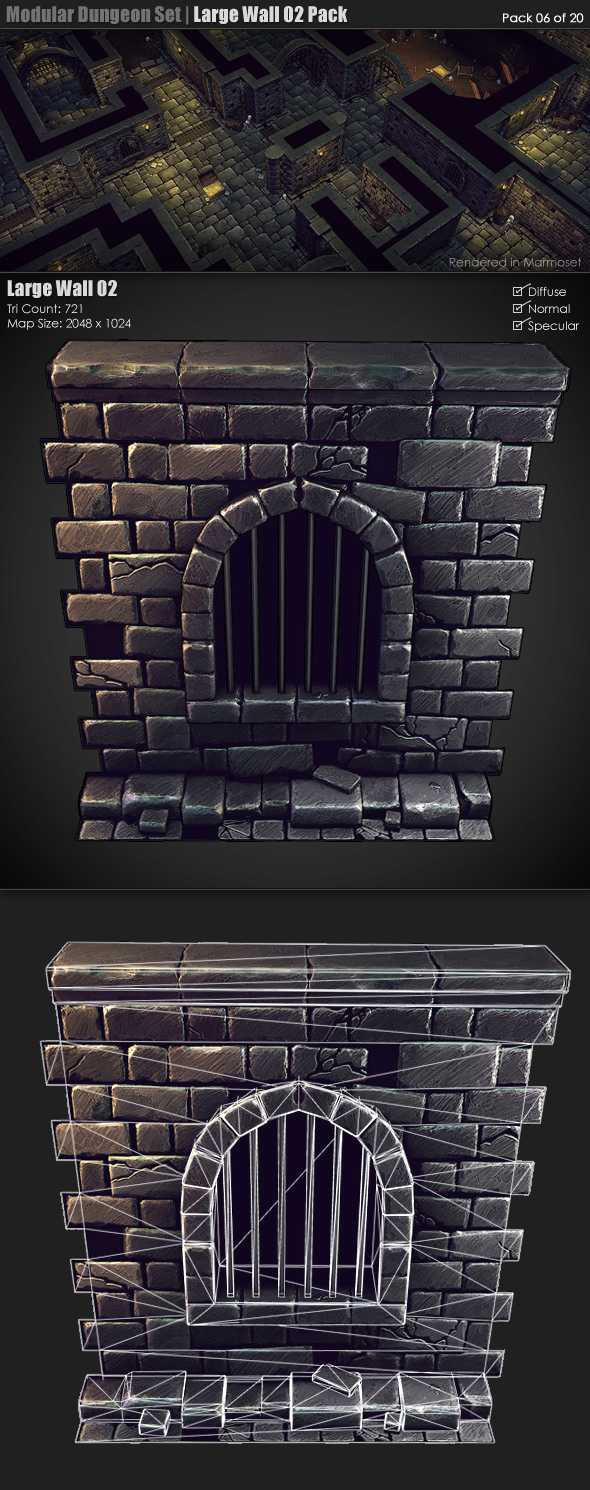Modular Dungeon Set| Large Wall 02 Pack (06 of 20) - 3DOcean Item for Sale