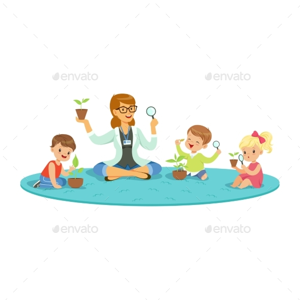 GraphicRiver Teacher and Kids Sitting on the Floor Learning 20550269