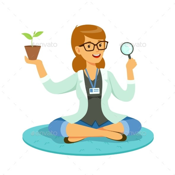 Female Teacher or Scientist Examining a Plant - Flowers & Plants Nature