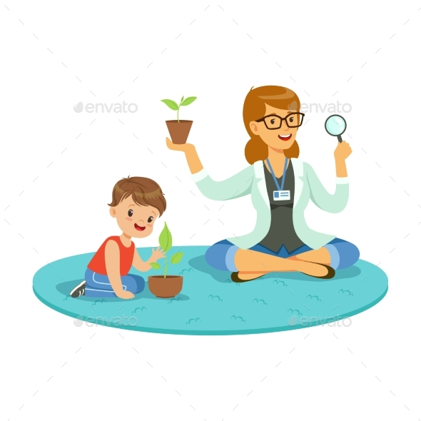 GraphicRiver Teacher and Little Boy Learning About Plants 20550279