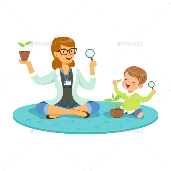 GraphicRiver Teacher and Little Boy Sitting on the Floor 20550282