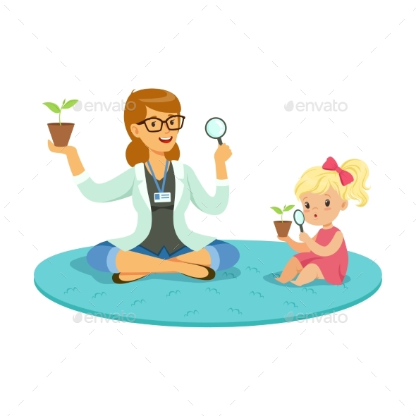 GraphicRiver Teacher and Little Girl Sitting on the Floor 20550286