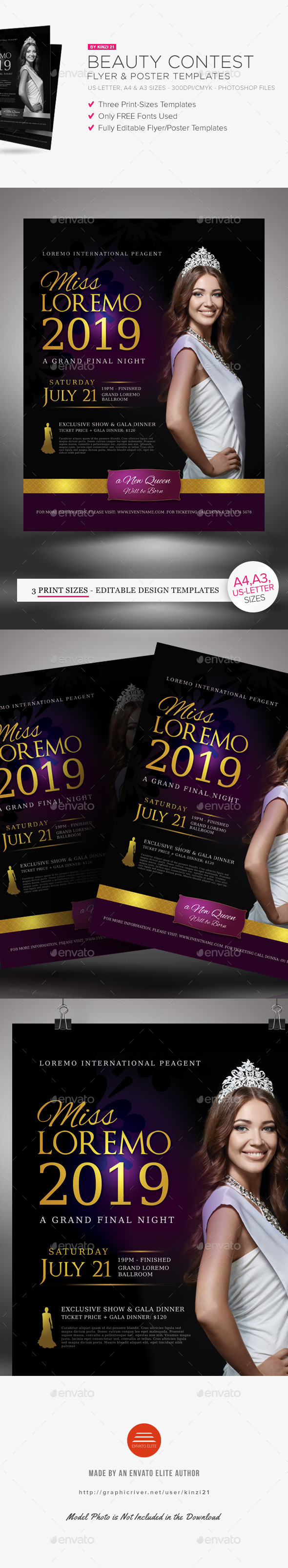 Beauty Contest Flyer and Poster Templates - Miscellaneous Events