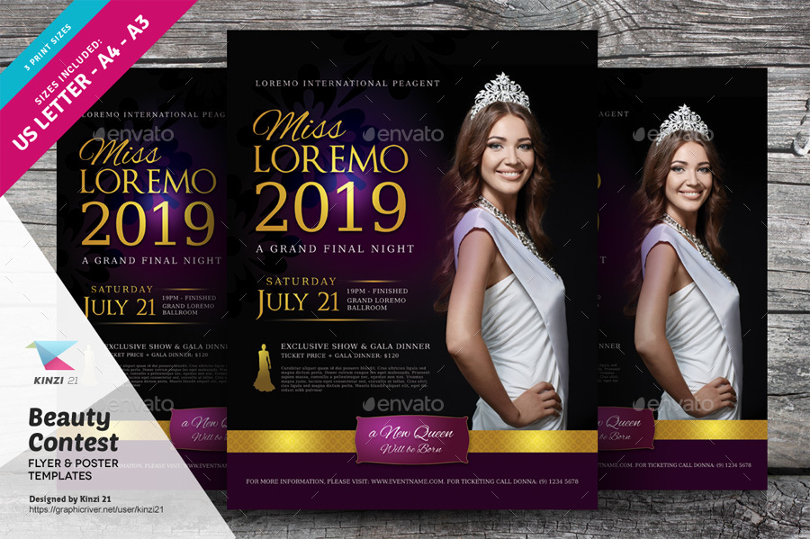 beauty contest flyer and poster templates by kinzi21 graphicriver