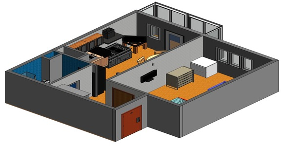 Design project one-room apartment - 3DOcean Item for Sale