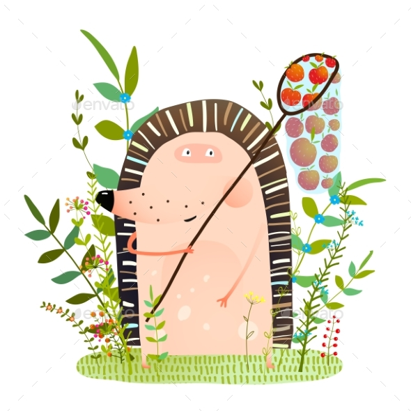 Hedgehog in Forest with Apple in Net - Animals Characters