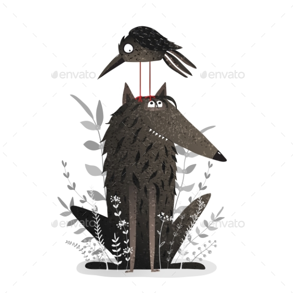 Black Wolf and Crow - Animals Characters