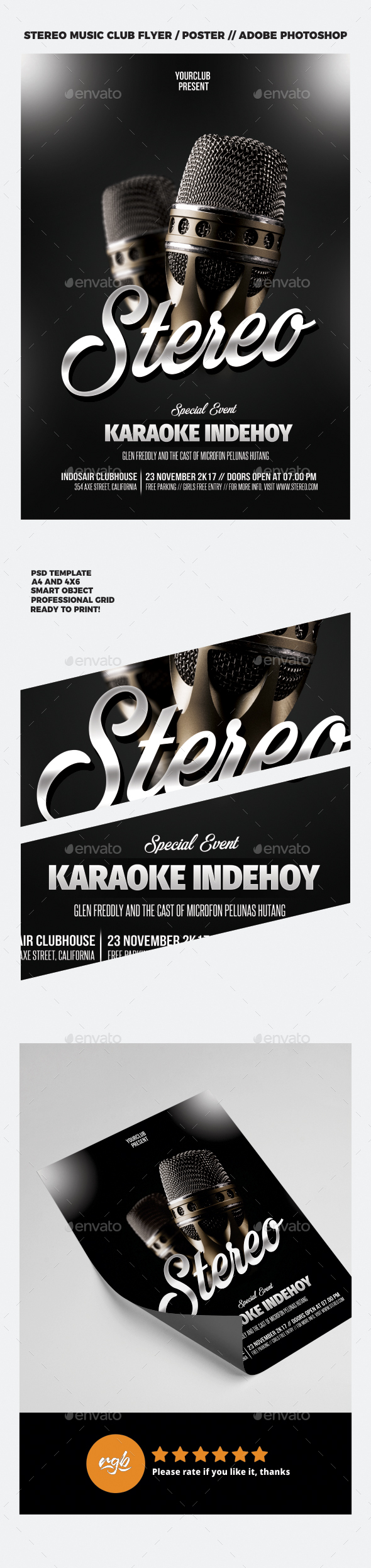 Stereo Music Club Flyer / Poster - Clubs & Parties Events
