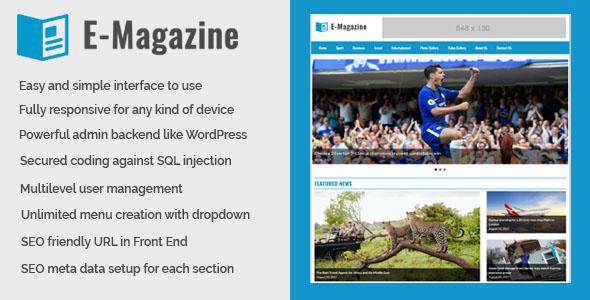 CodeCanyon E-Magazine Online Magazine and Newspaper Website CMS 20550536