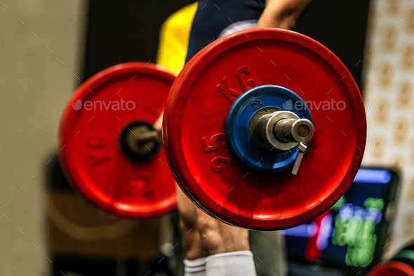 Powerlifter exercise deadlift barbell - Stock Photo - Images