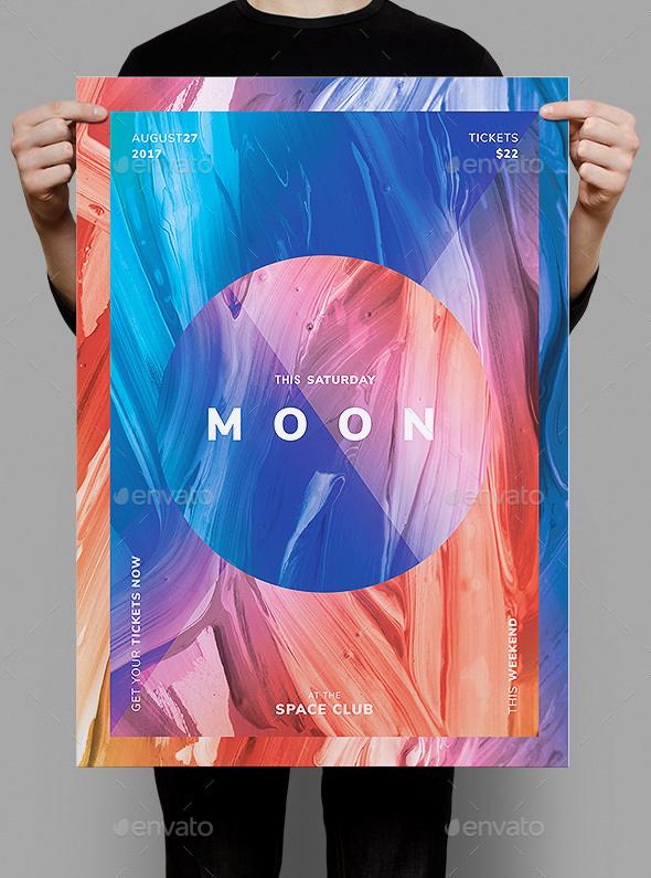 Moon Flyer / Poster Template - Clubs & Parties Events