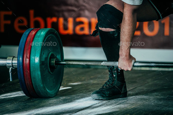 Male athlete deadlift in competition - Stock Photo - Images