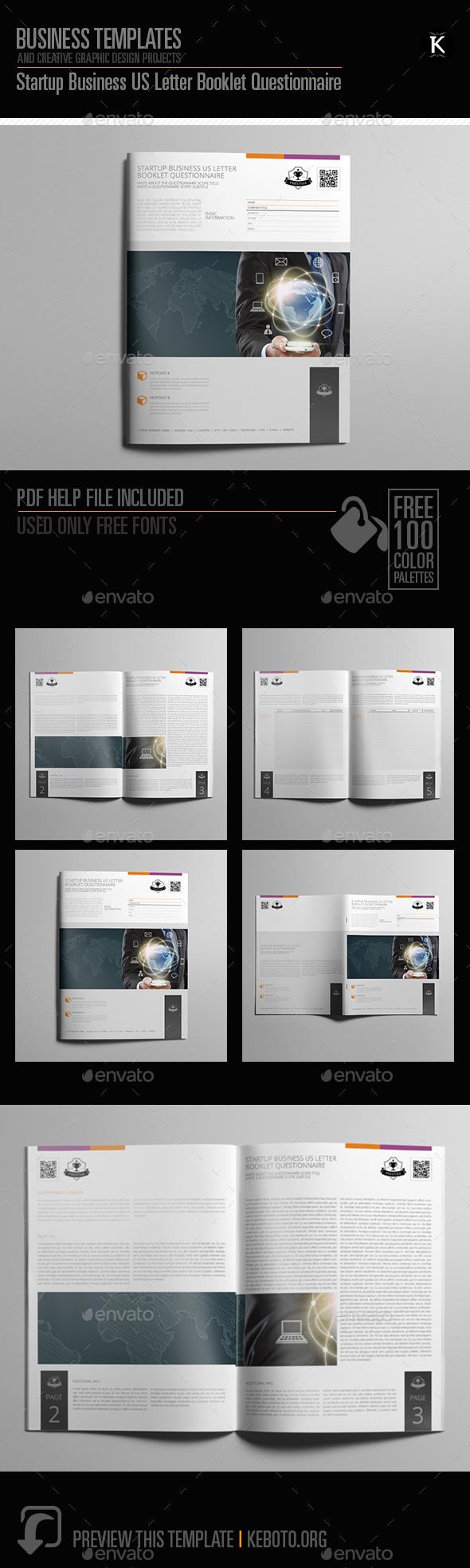 Startup Business US Letter Booklet Questionnaire - Miscellaneous Print Templates