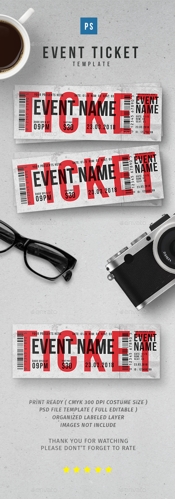 Event Ticket vol.2 - Cards & Invites Print Templates