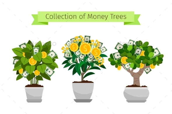 GraphicRiver Money Tree in Flower Pot Set 20551049