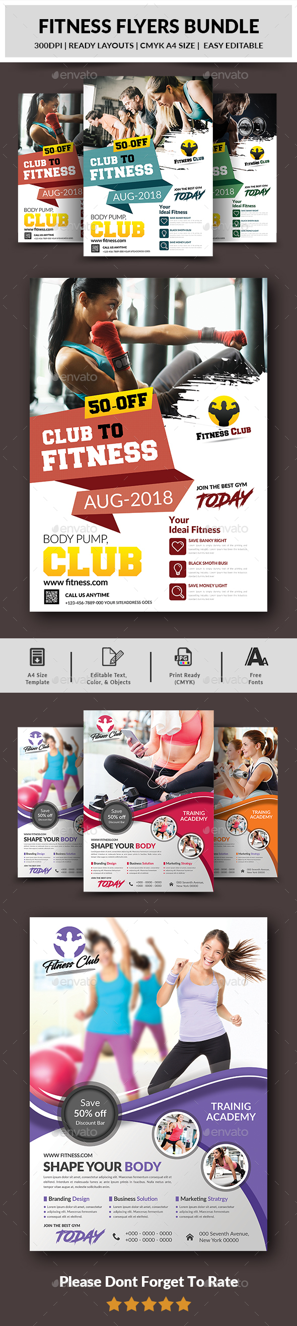 Fitness Flyers Bundle - Corporate Flyers